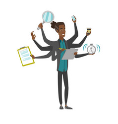 African businessman coping with multitasking vector