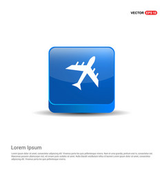 Airplane icon - 3d blue button vector