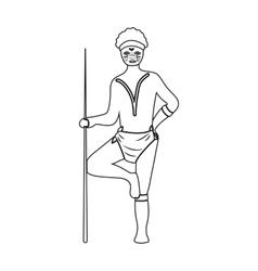Australian aborigine icon in outline style vector