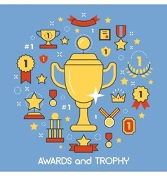 Awards and Trophy Thin Line Art Icons vector image
