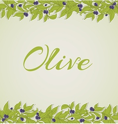 Background with green olive branches vector image