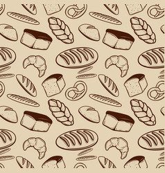 bakery seamless pattern with bread bun bagel vector image