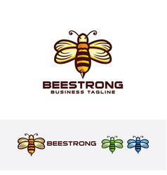 Bee strong logo design vector