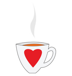 big heart cup with coffe on white background vector image