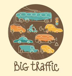 big traffic doodle emblem vector image