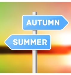 Blue sign post with directional arrows summer vector