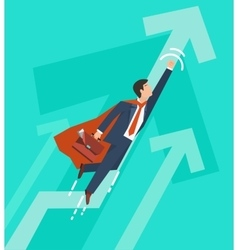 Businessman in a suit superhero flies up vector image