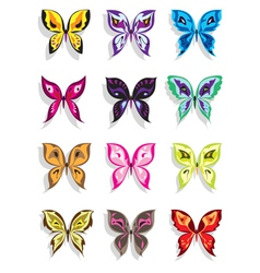 Butterfly with shadow in twelve variations vector image