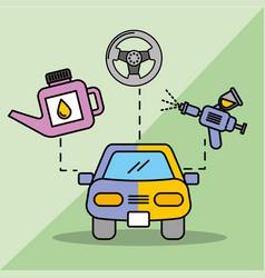 Car service maintenance painting sprayer oil vector