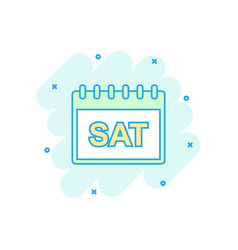 Cartoon colored saturday calendar page icon in vector