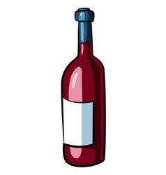 cartoon image of wine bottle vector image
