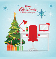 Christmas and new year in modern office workplace vector