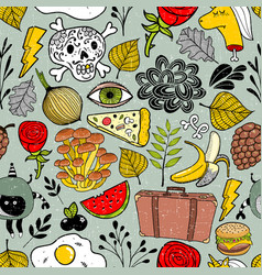 Colorful seamless pattern full of different vector