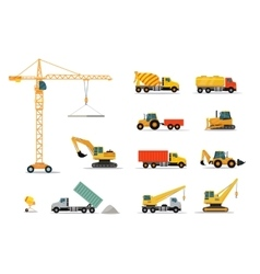 Construction Machinery Set Design Flat vector