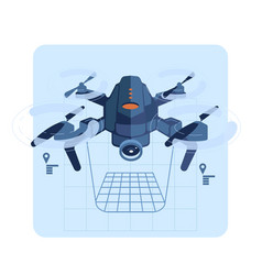 copter flies and paves the route vector image