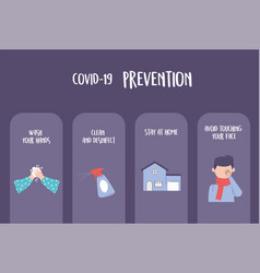 Covid 19 pandemic infographic prevention washing vector