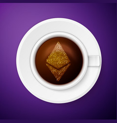 cup coffee with ethereum symbol vector image