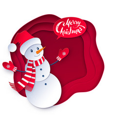 cut paper of snowman vector image