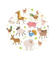 Cute farm animals pattern round shape greeting vector