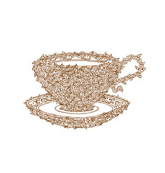 decorative brown line cup in zentangle style vector image