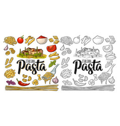 Different types macaroni and italian pasta vector