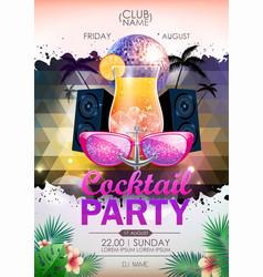 Disco background disco ball summer cocktail party vector