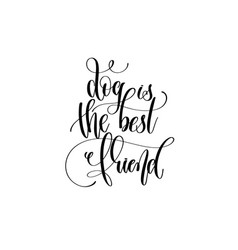 dog is best friend - hand lettering vector image