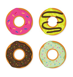 Donut set in a modern flat style vector