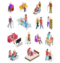 elderly people isometric senior persons helper vector image