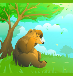 emotional brown teddy bear on lawn in woodland vector image