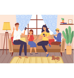 Family using gadgets parents and kids home vector