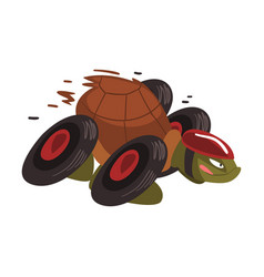 Fast turtle on wheels funny tortoise animal vector