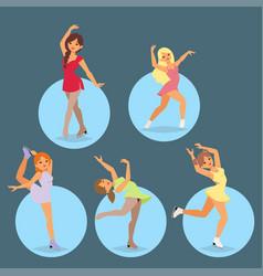 Figure ice skater cartoon trick figure vector