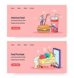 food online website landing page template vector image