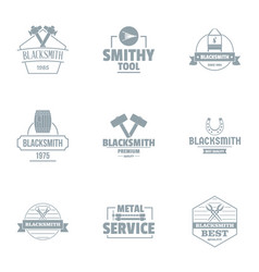 Forging logo set simple style vector