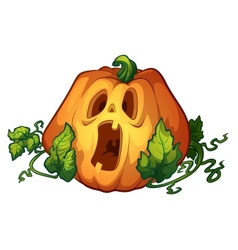 Frightened pumpkin vector