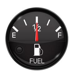 Fuel gauge half full tank round black car vector