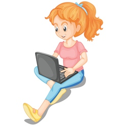 Girl using laptop vector
