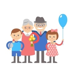Grandparents with grandchildren on vector