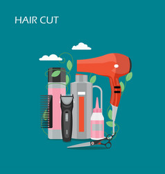 hair cut flat style design vector image