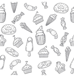 Hand drawn seamless pattern with sweets cupcakes vector