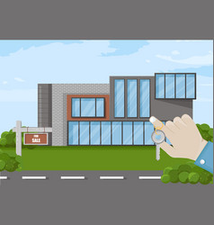 hand holding keys house for sale vector image