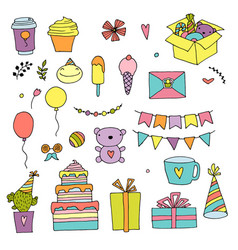 happy birthday color doodle set hand drawn vector image
