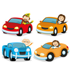 Happy people in cars vector