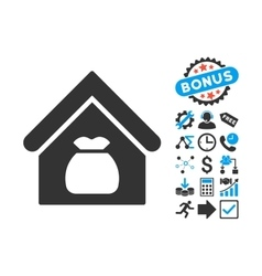 Harvest Warehouse Flat Icon with Bonus vector image