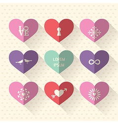 Heart symbol flat design icon set vector image