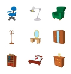Home furniture icons set cartoon style vector image