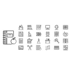 homework icon set outline style vector image