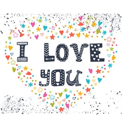 I love you Romantic card with heart Cute greeting vector