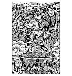 Imp in hell engraved fantasy vector
